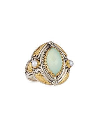 Sea Blue Agate & Pearl Marquis Ring