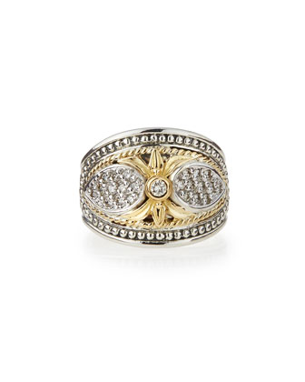 Silver & 18k Gold Diamond Ring