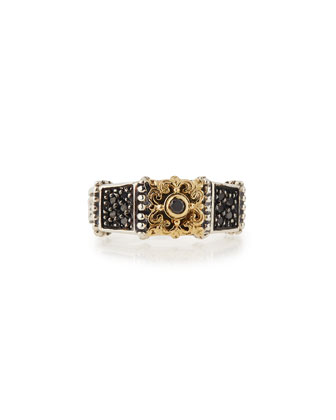 Paneled Silver & 18k Black Diamond Ring