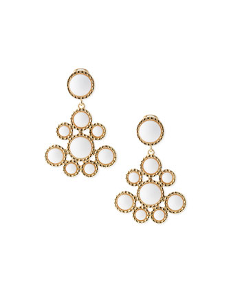 Cluster Clip-On Drop Earrings, White