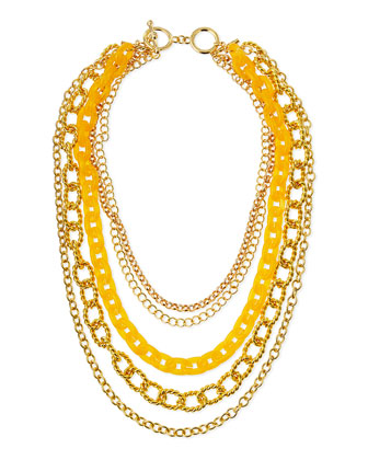 Layered Chain Link Necklace, Amber