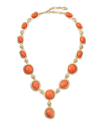 Cabochon & Crystal Y-Necklace, Coral