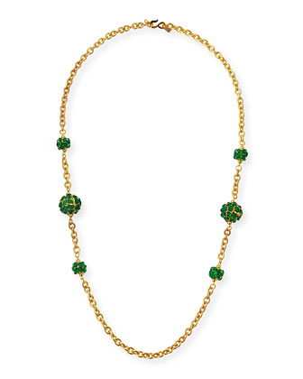 Cabochon-Station Long Necklace, Emerald