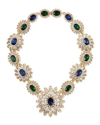 Crystal Floral-Cluster Necklace