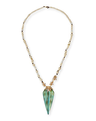Floral Punk Lucite Pendant Necklace, Aqua