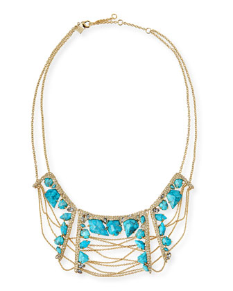 Howlite Draping-Chain Bib Necklace