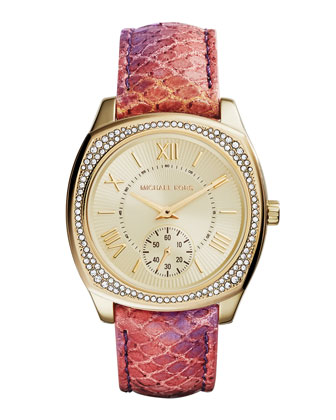 Bryn Python-Print Leather Glitz Watch