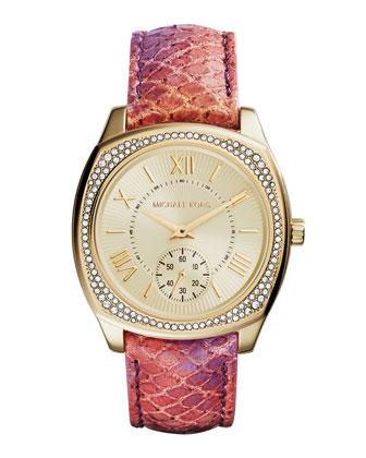 Bryn Python-Print Leather Glitz Watch
