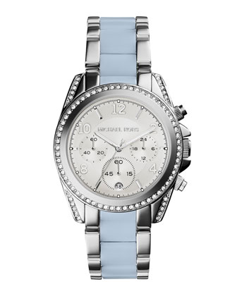 Blair Stainless Steel Glitz Watch, Silver/Chambray