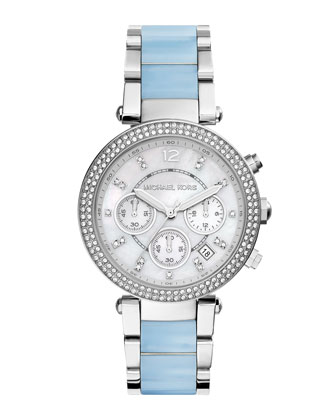 Parker Stainless Steel Glitz Watch, Silver/Chambray
