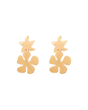 Cutout Clip-On Drop Earrings, Golden