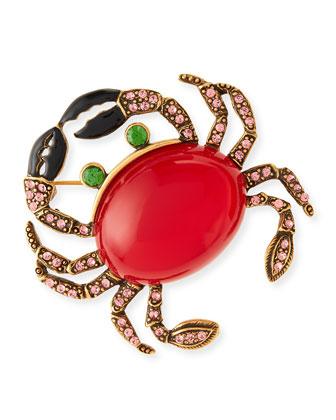 Crab Brooch with Crystals