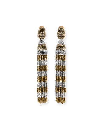 Beaded Stripe Tassel Earrings