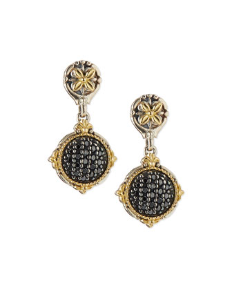 Silver & 18k Black Diamond Drop Earrings