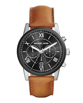 Hawthorne Leather-Strap Watch, Brown