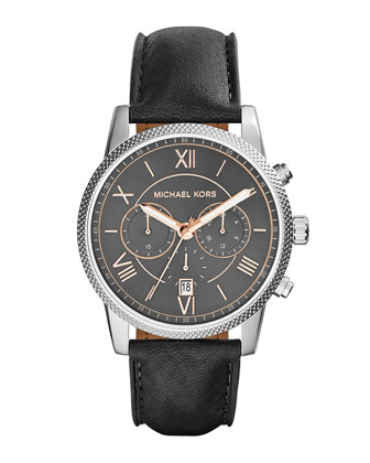 Hawthorne Leather-Strap Watch, Black