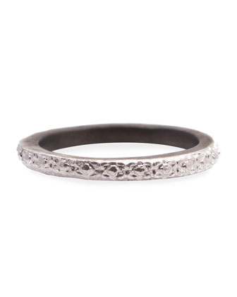 New World Carved Silver Stackable Ring