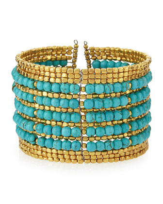 Beaded Wire Cuff Bracelet, Turquoise