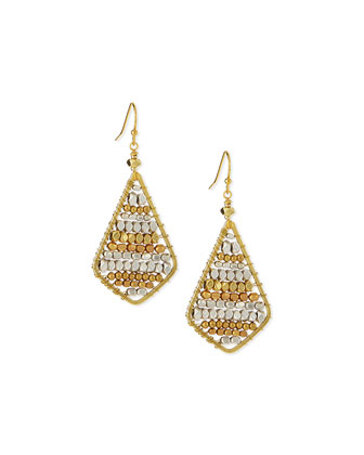 Beaded Diamond-Shape Earrings
