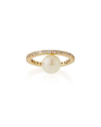 Eternity Ring with Crystal Pearl