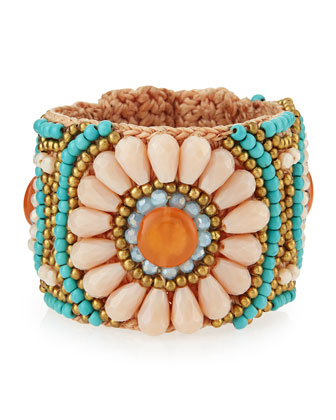 Flower-Beaded Rope Cuff Bracelet