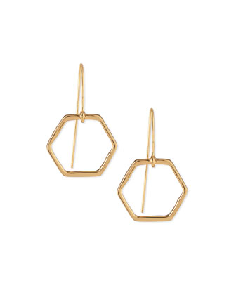 Hexagon Gold-Plated Drop Earrings