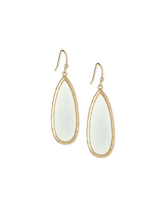 Quartz Teardrop Earrings, Chalcedony
