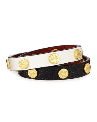 Double-Wrap Leather Logo Stud Bracelet
