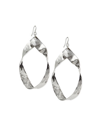 Twisted Rhodium-Plated Hoop Earrings