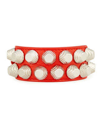 Giant 12 Wide Leather Bracelet with Studs