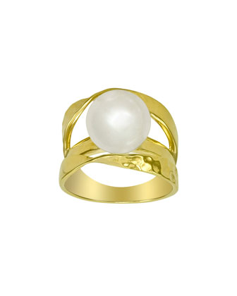 Gold Vermeil Pearl Ribbon Ring