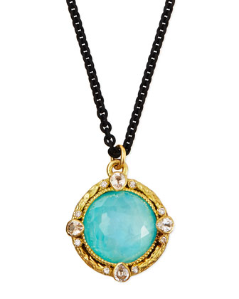 Blue Turquoise Moonstone Pendant Necklace