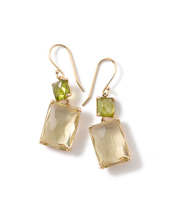 18k Gold Rock Candy Rectangle-Cut Peridot & Lemon Citrine Earrings
