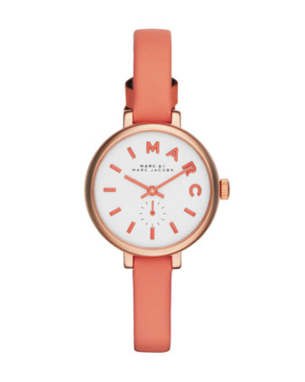 Sally Watch with Leather Strap, Peach
