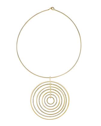 Statement Pave-Disc Pendant Necklace