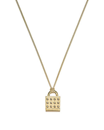 Astor Pave Padlock Pendant Necklace