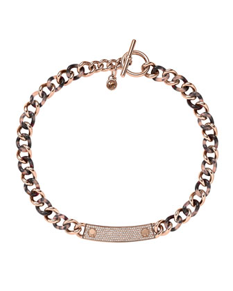 Curb-Chain Plaque Necklace, Rose Golden