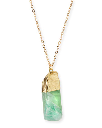 Long Green Quartz Pendant Necklace