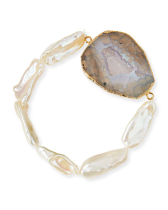 Agate & Mother-of-Pearl Stretch Bracelet