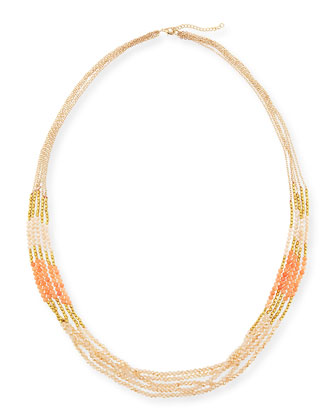 Multi-Strand Beaded Necklace, Coral