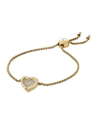 Pave Heart Slider Bracelet