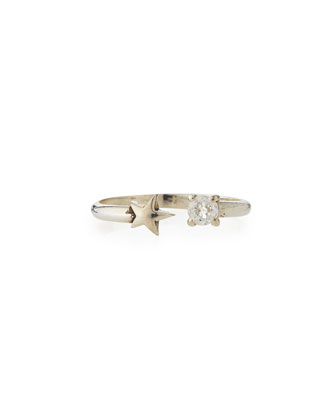 Silver Star & White Topaz Age Ring