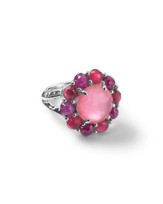 Wonderland Silver Ruby Flower Ring