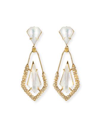 Mother-of-Pearl Crystal Dangle Earrings
