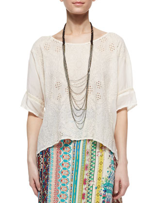 Johnny Was Embroidered Eyelet Georgette Boxy Blouse, Tiered Capri Necklace ...