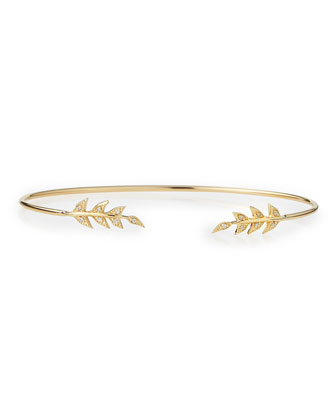 14k Gold Cuff with Diamond Petals