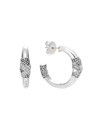 Embrace Large Silver Diamond Hoop Earrings