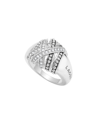 Embrace Silver Diamond Wrap Ring, Size 7