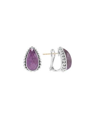 Maya Silver Charoite Half-Hoop Earrings