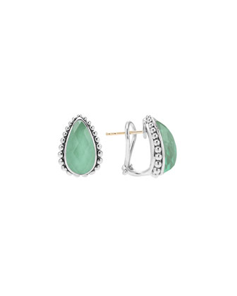 Maya Silver Variscite Half-Hoop Earrings